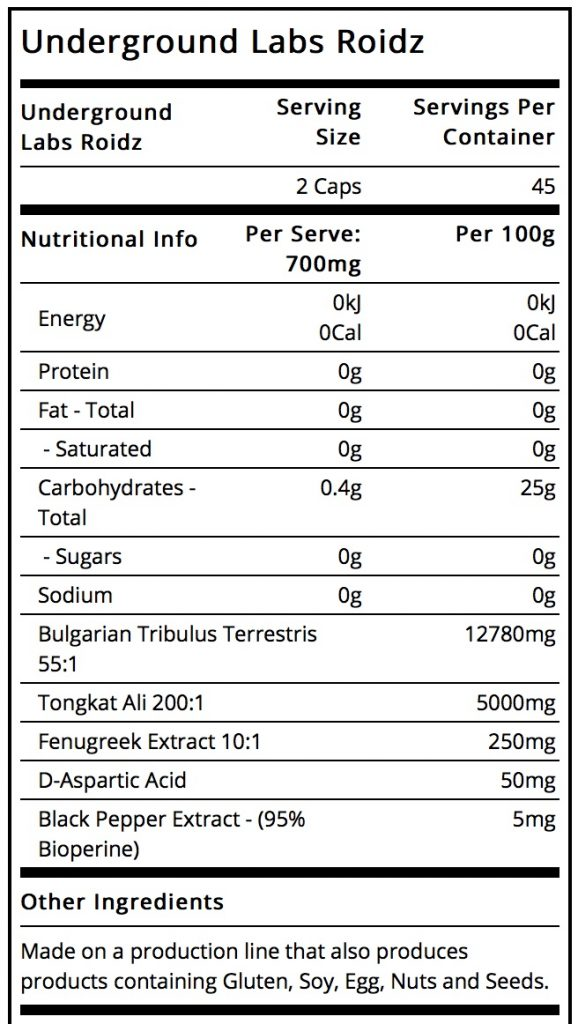 Roidz ingredient label